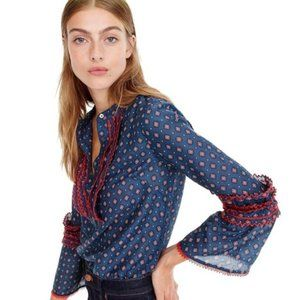J Crew Embroidered Bell Sleeve Top In Foulard 0P